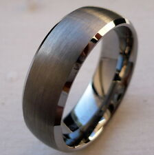 8mm TUNGSTEN CARBIDE brushed finish MEN'S COMFORT FIT WEDDING BAND RING SZ 5-15