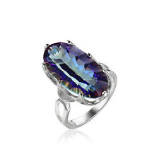 10ct Luxury Genuine Rainbow Blue Topaz Ring Solid 925 Sterling Silver