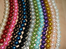 2  Strands Round Glass Pearl Beads 4 6 8 10 12 14mm In 14Variation Colours