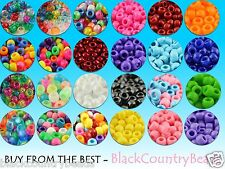 100/500/1000 OPAQUE PONY BEADS X100 9MM ☆ DUMMY CLIPS, BRACELETS, HAIR BRAIDING