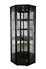 Showcase Corner Door Glass Display Cabinet Unit – BLACK, SILVER or OAK EFFECT