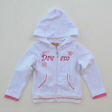 Miss Ergi Girls White Embroidered Front Hoodie Track Jacket Size 2/3/4/5