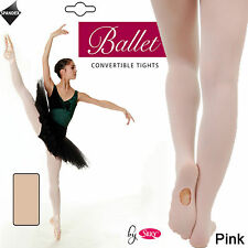 Silky Girls Ladies Pink Convertible Foot Ballet Dance Tights - Transition Tights