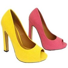 WOMENS YELLOW OR PINK PEEP-TOE PLATFORM STILETTO HIGH HEEL CROC COURT SHOES