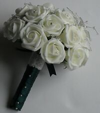 Vintage Ivory Rose Crystal Lily Clear Pearl Spray Lace Wedding Flower Bouquet