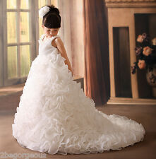 Tiered Gown Formal Dress w/ Train Wedding Flower Girl Communion Size 2y-9y FG238