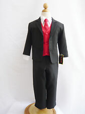 TEEN BOY TODDLER RING BEARER RECITAL BLACK FORMAL SUIT WITH COLOR VEST & TIE