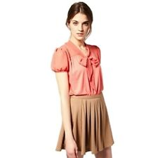 New Ladies Coral Asos Chiffon Pussy Bow Short Sleeve Blouse Sizes 10-14