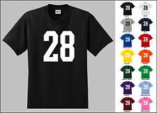 Number 28 Twenty Eight Sports Number Youth Jersey T-shirt Front Print