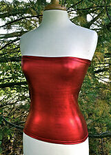 TUBE TOP STRETCH TRUE RED LAME METALLIC SPANDEX FULL LENGTH STRAPLESS  S M or L