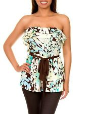 New Womens Multi Color Ruffled Tube Top with Belt Ladies Fashion Apparel Shops