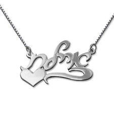 Sterling Silver Hebrew Script Name Necklace with Side Heart