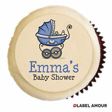 PERSONALISED Baby Shower Christening Party Cupcake Edible Toppers Cake - Brayden