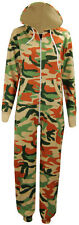 D34 NEW WOMENS CAMOUFLAGE ARMY PRINT HOODED LADIES ALL IN ONE ONESIE JUMPSUIT