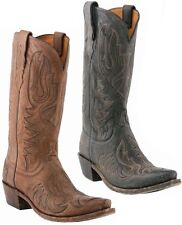 LUCCHESE M1030 Brown & M1031 Black Mens Western Cowboy Boots