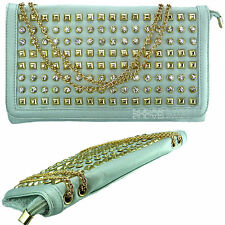 Ladies Leather Style Silver Diamante Stud Chain Clutch Bag Evening Bag Handbag