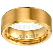 18K Gold Tungsten Carbide Wedding Engagement Band Promise Ring Mens Classic 8mm