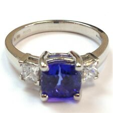 2.50 Carat Cushion Cut Tanzanite and 0.50 Carat Side Princess Diamond Ring