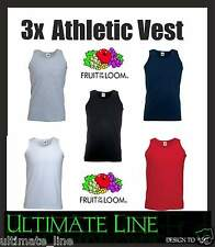 3 Pack Mens Fruit Of The Loom Athletic Vest Tank Top Plain Gym Cotton Basic Fit