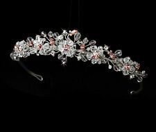 Bridal Tiara Made With Swarovski Crystals - Clear Pink Blue Red Gold - HP 8003