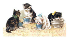 Victorian Cats Share Tea Quilt Block Multi Sizes FrEE ShiPPinG WoRld WiDE (P4