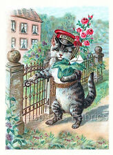 Victorian Cat Delivers Roses Quilt Block Multi Sizes FrEE ShiPPinG WoRld WiDE