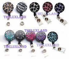 Mini Rhinestone Bling Crystal reel retractable ID badge holder