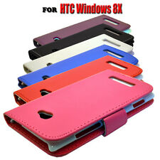 6 COLOUR PU LEATHER WALLET BOOK FLIP MOBILE PHONE CASE COVER FOR HTC WINDOWS 8X