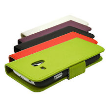 NEW 5 COLOUR WALLET BOOK FLIP PHONE CASE COVER FOR SAMSUNG GALAXY S3 MINI I8190