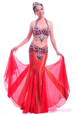 New Belly Dance Costume 2 Pics Bra&Belt 34B/C 36B/C 38B/C 10 Colors