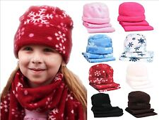 Fleece Hat & Scarf Sets Toddler Sized Snowflake and Solid - 8 colors available!