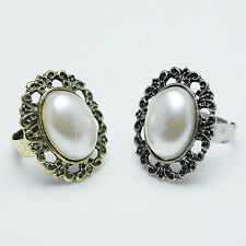 Vintage Bronze/Antique Silver Cutout Flower Oval Pearl Adjustable Ring