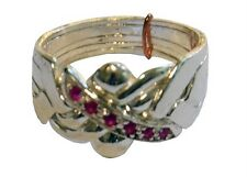5-Band .925K STERLING SILVER PUZZLE RING with Ruby Sizes 7-14 #2505-R