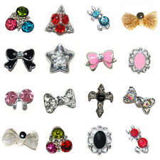 100PCS 3D Metallic Nail Art Decorations Cell Phone Alloy Crystal Rhinestones A