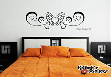 BUTTERFLY WITH HEARTS Vinyl Wall Decal pretty room tribal stripe art design B069