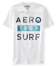 NWT AEO Aeropostale Short Sleeve  White Aero 1987 Surf Graphic Tee T-Shirt