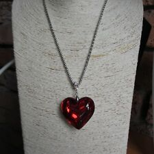 "Acrylic Love Heart Pendant Necklace With Long 28"" Silver Tone Chain in 7 Colours"