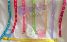 Turquoise Salmon Pink Green Gold Lilac Polka Dot Dummy Clip strap MAM Avent Nuby