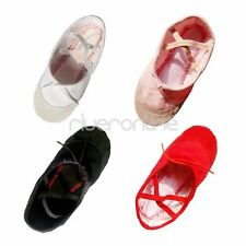 Girls Kids Adults Canvas Split Sole Ballet Dance Slippers Gymnastics Shoes NEW
