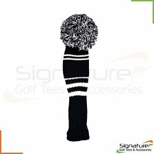Premium Knitted Pom Pom Golf Club Headcovers - Black/White **FREE UK P+P**