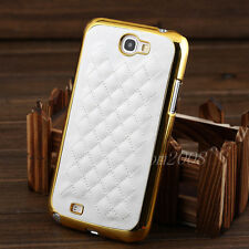 Designer Gold PU Leather Chrome Hard Case Cover For Samsung Galaxy Note 2 N7100