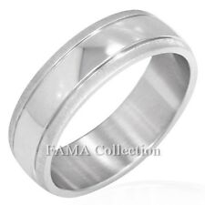 FAMA Stainless Steel High Polish Centre w/ Matte Finish Edge Band Ring Size 9-13