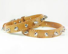 Brown PU Leather Spiked Studded Dog Collar Puppy Small Dog Pet Collar S M L XL