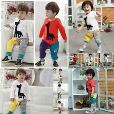 Baby Kids Boy Girl Cute 3D Giraffe Top+Pants Outfit Set Clothes 12 18 24M Age3-4