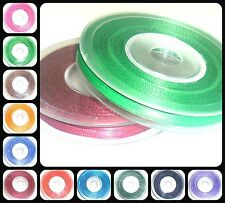 TOP QUALITY DOUBLE SIDED SATIN RIBBON, 3MM, ASSORTED COLOURS, 25MTR REEL