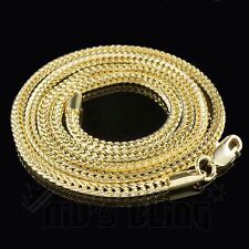 3mm 14k Yellow Gold Finish FRANCO CHAIN Box Link Curb Necklace - 24, 30, 36 Inch