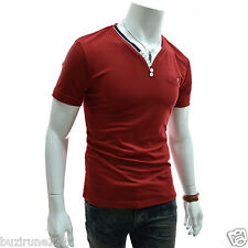 (DK4)TheLees Slim Fit Pin Stripe 2 Tone Button Point V-neck Short Sleeve Tshirts