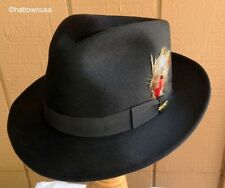 "NEW Men's STETSON FUR FELT ""Sikeston"" Black Formal Fedora Teardrop Crown Soleil"
