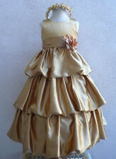 Gold toddler bubble dancing quinceanera party flower girl dress size 2 4 6 8 10
