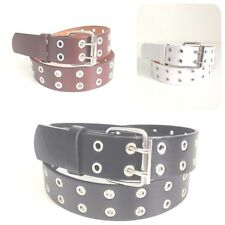 DOUBLE GROMMET 2 HOLES GENUINE LEATHER BELT UNISEX WOMENS MENS FAST FREE SHIP!!!